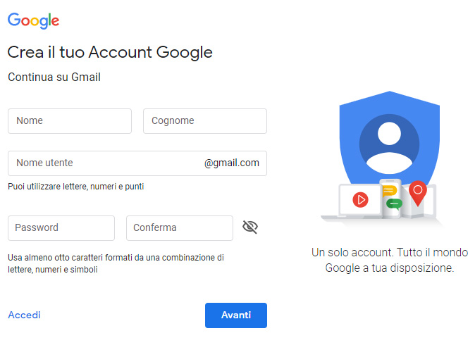 Crea un account Gmail